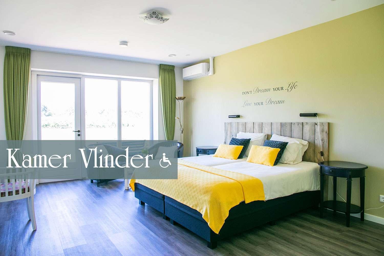Kamer Vlinder, geschikt voor rolstoelgebruik | Bed and Breakfast In ons Straatje, Kruisstraat Rosmalen - Noord-Brabant